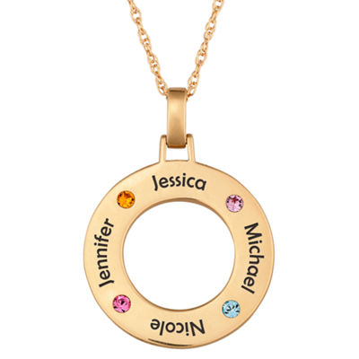 Personalized Family Name and Birthstone Pendant Necklace