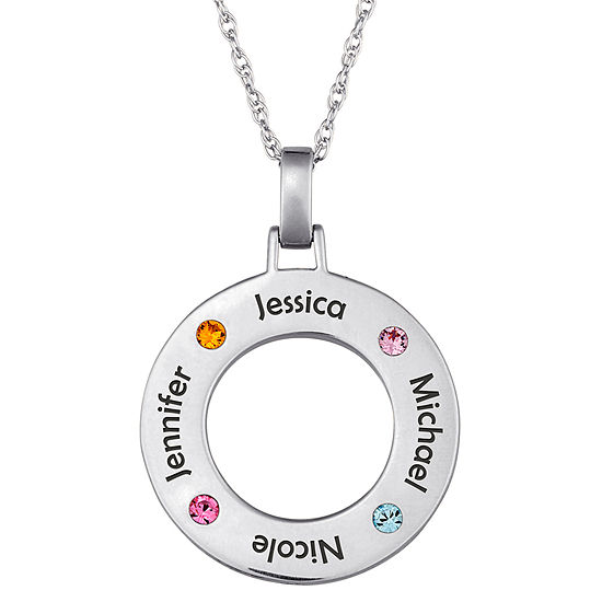 Personalized Family Name and Birthstone Sterling Silver Circle Pendant Necklace