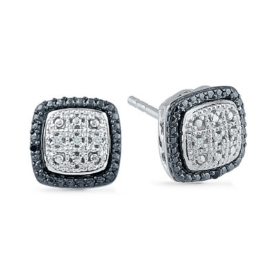 Diamond Accent Round White Diamond Sterling Silver Stud Earrings