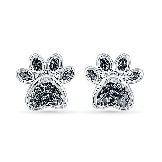 1/8 CT. T.W. Black Diamond Sterling Silver 11mm Stud Earrings