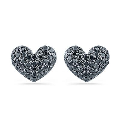1/4 CT. T.W. Black Diamond Sterling Silver 8mm Stud Earrings
