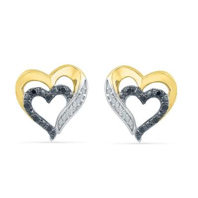 1/10 CT. T.W. Black Diamond 10K Gold Over Silver 11.5mm Stud Earrings