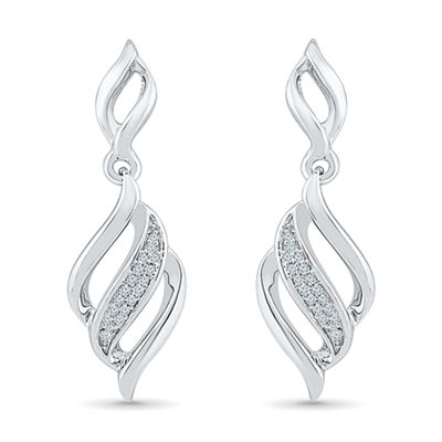 Diamond Accent White Diamond Sterling Silver Drop Earrings