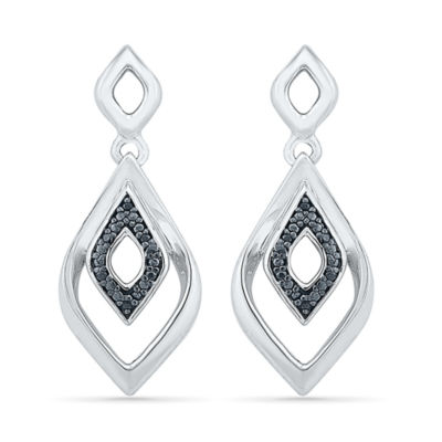 Diamond Accent Black Diamond Sterling Silver Drop Earrings