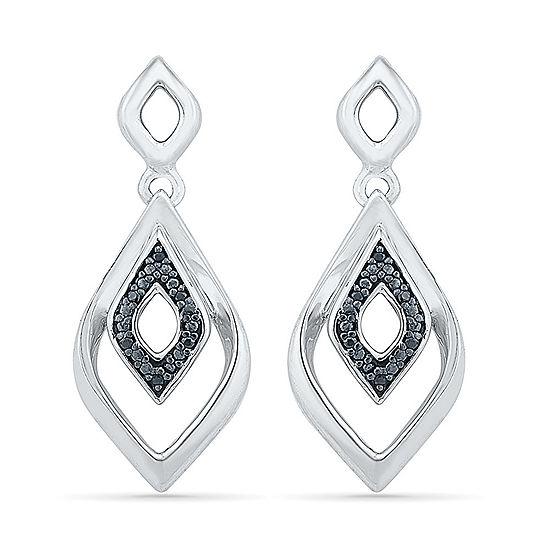 Diamond Accent Black Diamond Sterling Silver Drop Earrings