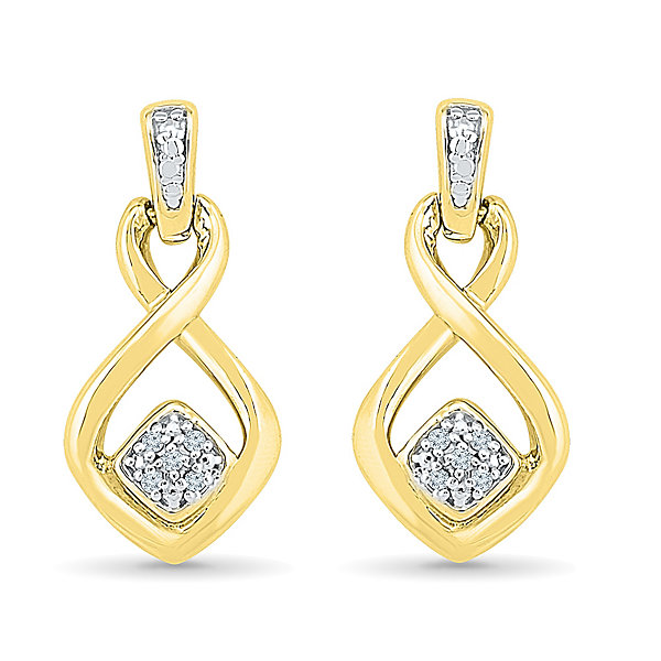 Diamond Accent White Diamond Gold Over Silver Drop Earrings