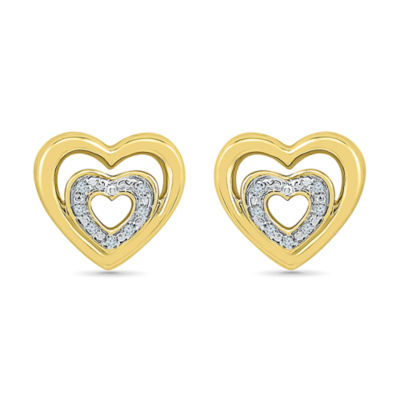 Diamond Accent White Diamond 10K Gold Over Silver 10mm Stud Earrings