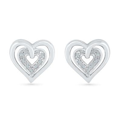 Diamond Accent Genuine White Diamond 10K White Gold Over Silver 11.5mm Heart Stud Earrings