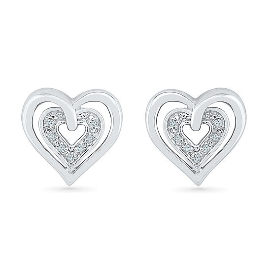 Diamond Accent Genuine White Diamond 10K White Gold 11.5mm Heart Stud Earrings