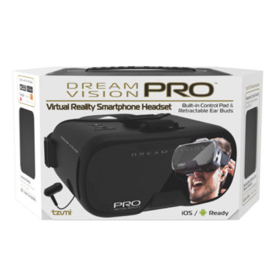 Tzumi Dream Vision Pro Virtual Reality Smartphone Headset with Earbuds - Black