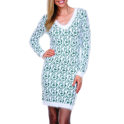 White Mark Angora-Like Long Sleeve Sweater Dress