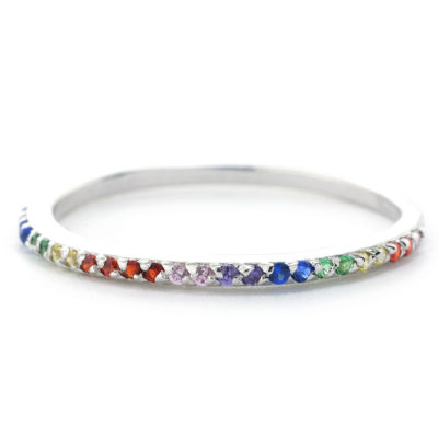Silver Treasures Pave Rainbow Stackable Womens Multi Color Sterling Silver Round Stackable Ring