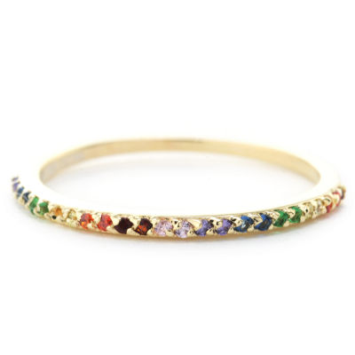 Silver Treasures Pave Rainbow Womens Multi Color 24K Gold Over Silver Round Stackable Ring