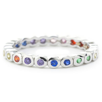 Silver Treasures Bezel Set Rainbow Eternity Womens Multi Color Sterling Silver Eternity Band