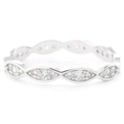 Silver Treasures Pave Marquis Womens Clear Sterling Silver Round Eternity Band