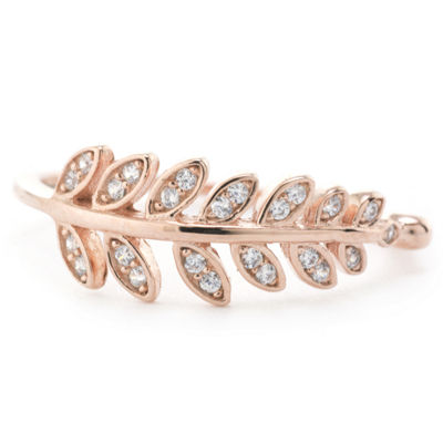 Silver Treasures Pave Leaf Womens Clear 24K Rose Gold Over Silver Round Stackable Ring