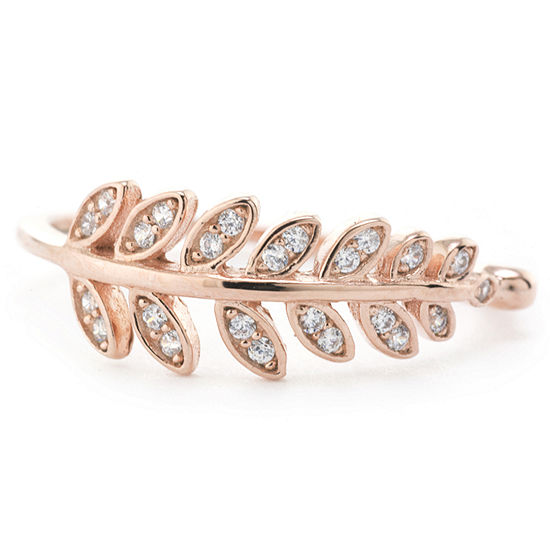 Silver Treasures Pave Leaf Womens 24K Rose Gold Over Silver Round Band