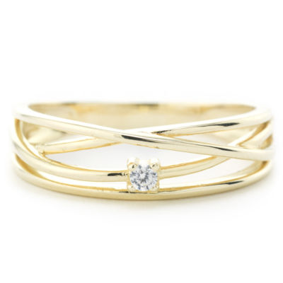 Silver Treasures Crossover Wrap Womens 2.5mm Clear 24K Gold Over Silver Round Stackable Ring
