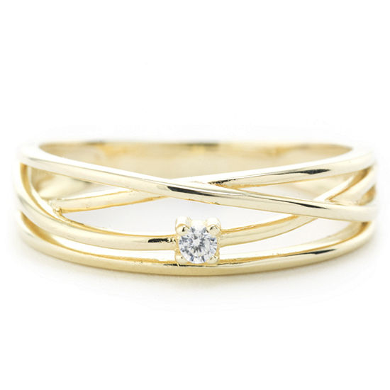 Silver Treasures Crossover Wrap Womens 24K Gold Over Silver Round Band