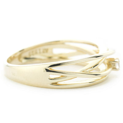 Silver Treasures Crossover Wrap Womens 2.5MM Clear 24K Gold Over Silver Round Band