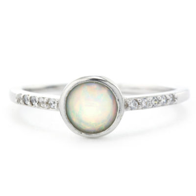 Silver Treasures Bezel Set Cubic Zirconia Accent Womens White Round Band
