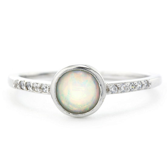 Silver Treasures Sterling Silver Bezel and Cubic Zirconia Ring