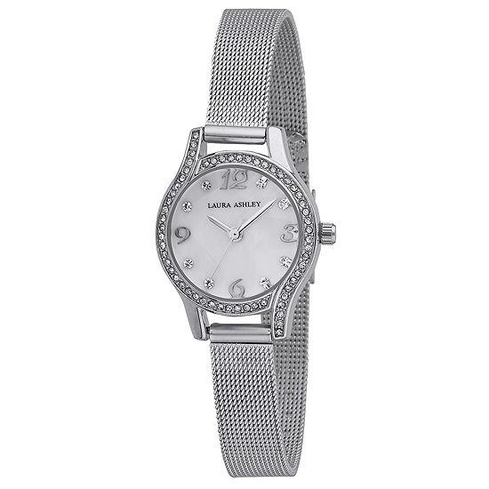 Laura Ashley Womens Silver Tone Strap Watch-La31037ss