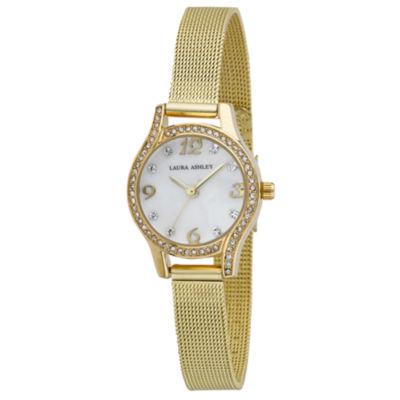 Laura Ashley Womens Gold Tone Strap Watch-La31037yg