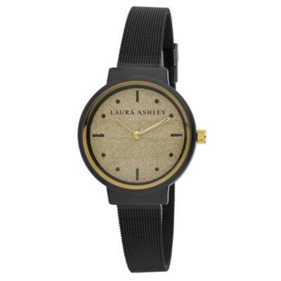 Laura Ashley Womens Black Strap Watch-La31041bk