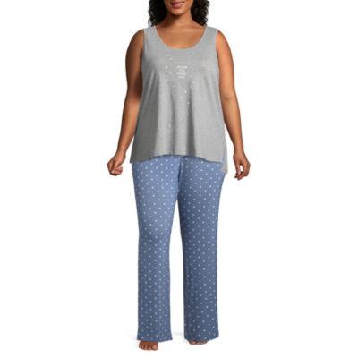 Ambrielle Sleeveless Scoop Neck Hearts Pajama Top-Plus