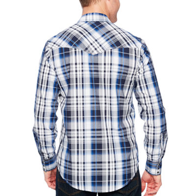 Ely 1878 Long Sleeve Textured Plaid With Contrast Stitch