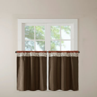 Madison Park Mandara Pieced Embroidered Rod-Pocket Window Tiers