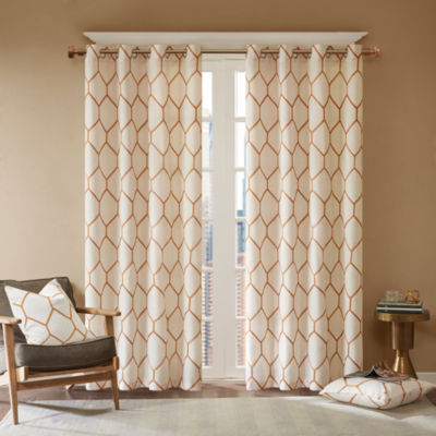 Madison Park Asher Metallic Geo Embroidered Grommet-Top Curtain Panel