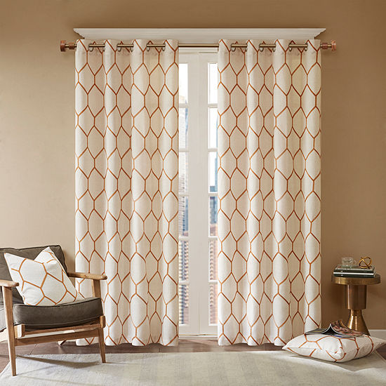 Madison Park Asher Metallic Embroidered Light-Filtering Grommet-Top Single Curtain Panel