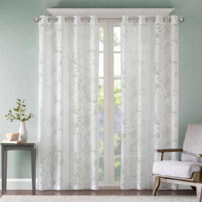 Madison Park Kauna Palm Leaf Lightweight Burnout Grommet-Top Sheer Curtain Panel