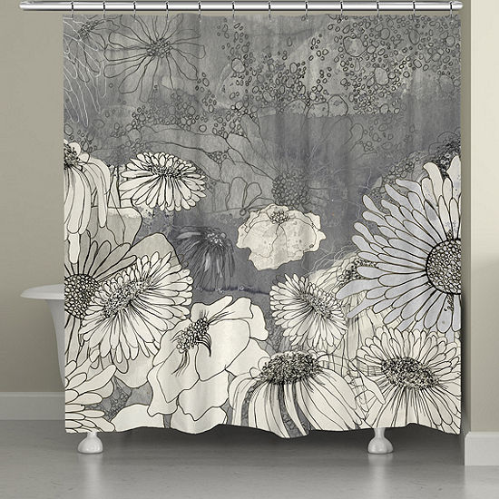 Laural Home Flowers on Grey Shower Curtain