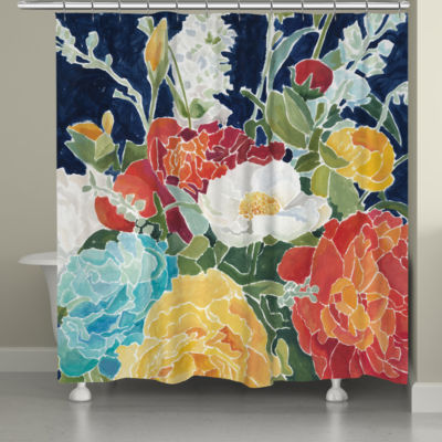 Laural Home Midnight Floral Shower Curtain