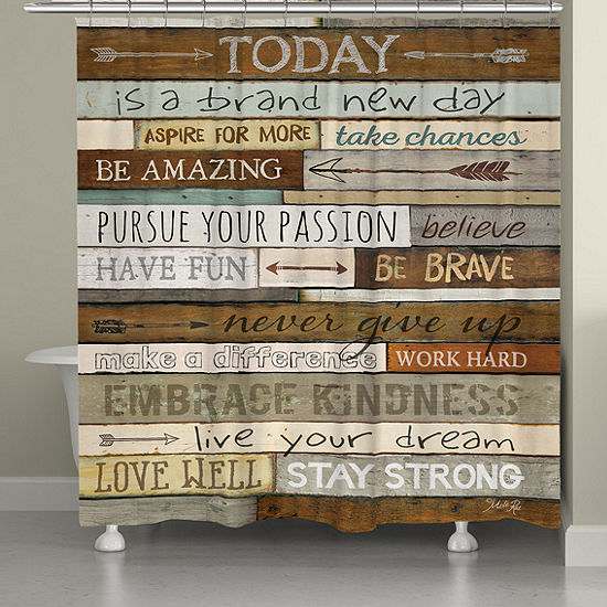 Laural Home Inspiring Mantra Shower Curtain
