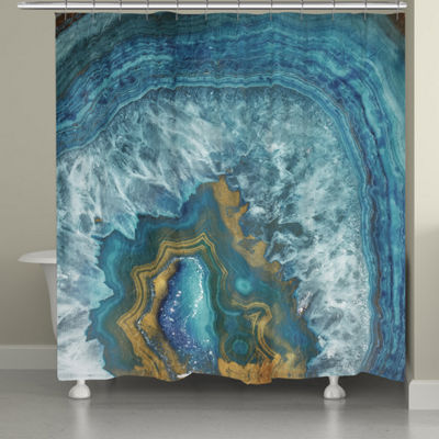 Laural Home Blue Gold Mineral Shower Curtain