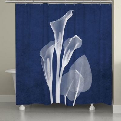 Laural Home Indigo X-Ray Calla Lillies Shower Curtain
