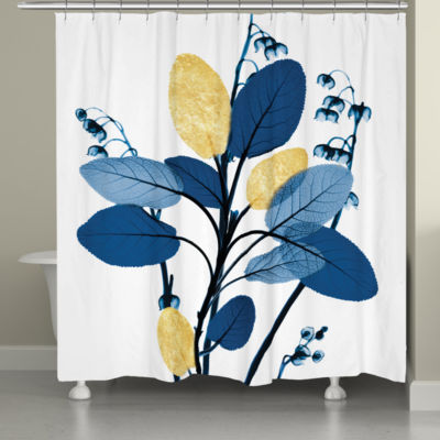 Laural Home Blue and Gilded Leaves Shower Curtain
