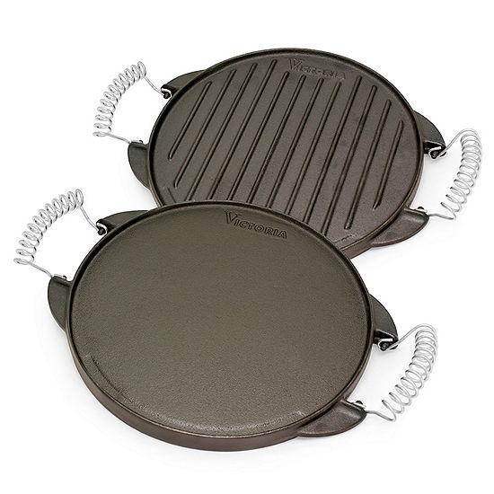 "Victoria 10"" Round Iron Griddle Cast Iron Griddle"