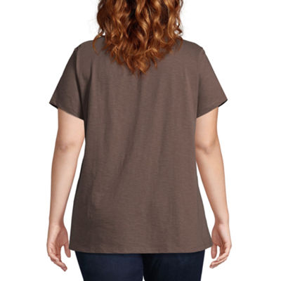 St. John's Bay® SS Embroidered Peasant Tee - Plus