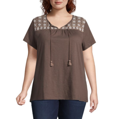 St. John's Bay®SS Embroidered Peasant Tee - Plus