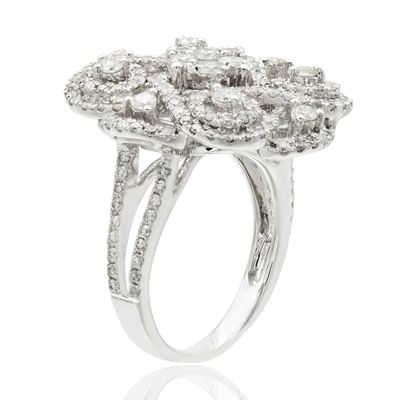 Limitied Quantities! Womens 1 1/2 CT. T.W. White Diamond 14K White Gold Cocktail Ring