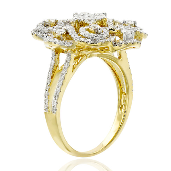 Limited Quantities! Womens 1 1/2 CT. T.W. White Diamond 14K Gold Cocktail Ring