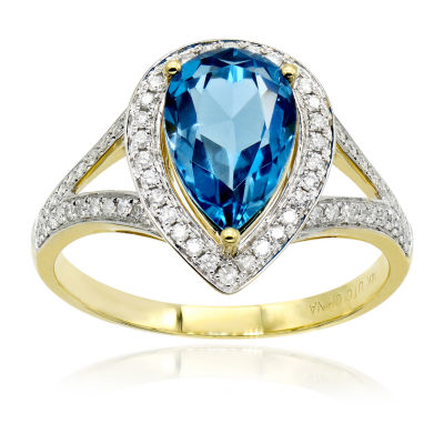 Limited Quantites Womens 1/2 CT. T.W. Blue Topaz 14K Gold Round Cocktail Ring