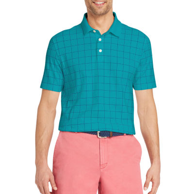 IZOD Interlock Easy Care Short Sleeve Grid Polo Shirt