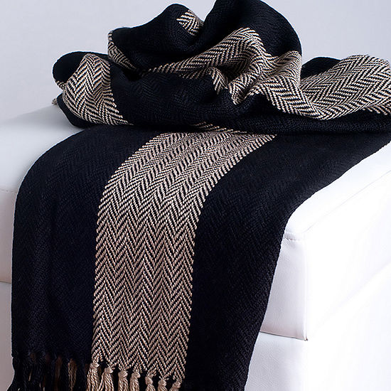 Rizzy Home Cody Transitional Stripe  Throw