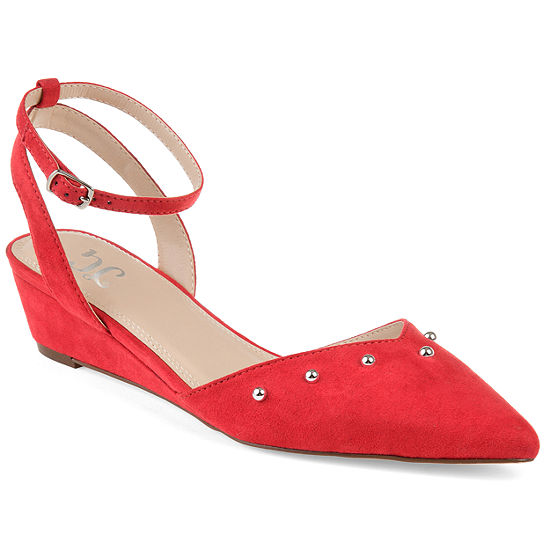 Journee Collection Womens Aticus Pumps Buckle Round Toe Wedge Heel